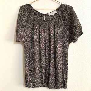 Ann Taylor LOFT | Leopard Keyhole Back Career Top
